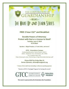 The Corporation of Guardianship presents The Wake Up and Learn Series @ GTCC Greensboro Campus
